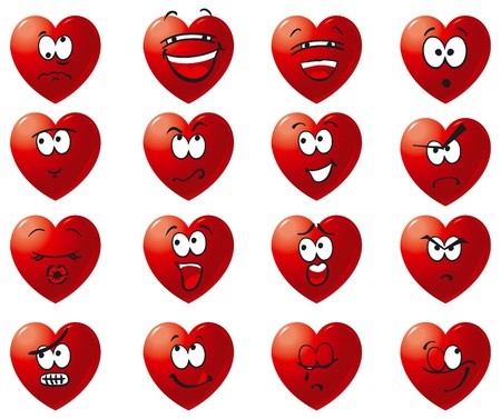 Set icon of hearts. Vector hearts with smile, laughter, anger, malice, cry, love, hate and others Vector
