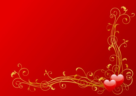 Vector valentines background of  hearts and floral elements