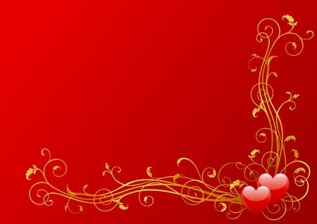 Vector valentines Hintergrund der Herzen und floralen Elementen Standard-Bild - 11675190