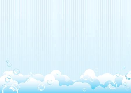 Soap bubbles. Blue background of soap bubbles. Vector Illustration