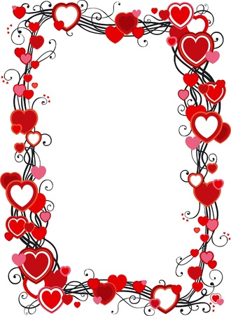 Frame with hearts. Vector ornate  frame with hearts  on white background  Illustration