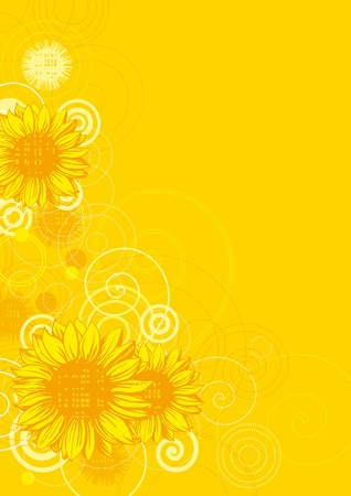 Sunflowers. Vector illustrations with sunflowers on grunge background  Vector