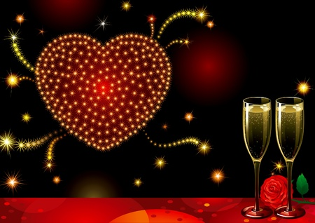 champagne flutes: Fireworks of love. Vector holiday background with two Champagne Flutes, many stars and heart at shape of fireworks on night dark sky.