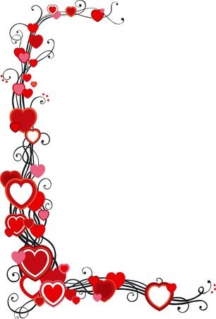 Beyaz zemin üzerine kalpleri ile vektör dekoratif çerçeve