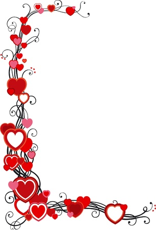pink border: Vector decorative frame with hearts  on white background