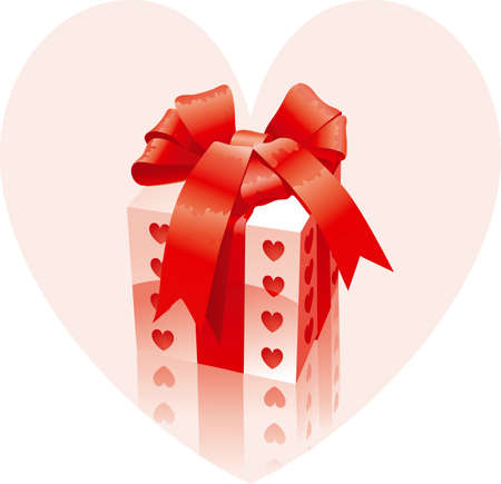 giftbox: Valentines present. Vector of gift box and red bow on background with pink heart  Illustration