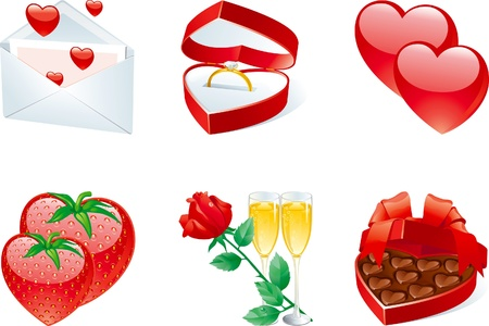 Icon set for valentines. Vector Set of rose, jewelry box with ring, love letter, champagne flute,  strawberry, box of sweets. Vector