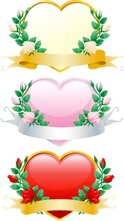 flower close up: Set of valentines hearts. Three hearts with rose wreaths and ribbons.