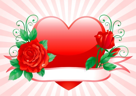 flower close up: Valentines card. Vector of Heart and red roses with ornate elements.  Illustration
