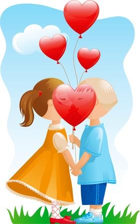Valentinstag. Vektor-Illustration von Jungen und Mädchen mit vielen roten Ballon in der Form des Herzens