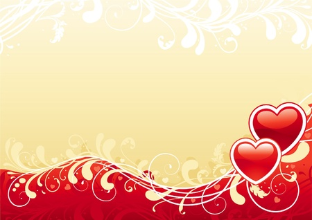 desktop wallpaper: Abstract valentine background. Red ornate abstract background with two hearts.