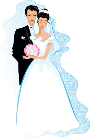 Happy wedding. Vector of people couple - Bride and Groom. Vector