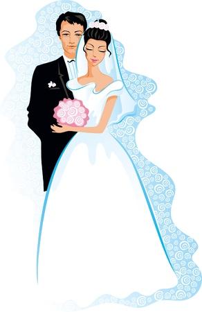 Gelukkig huwelijk. Vector van de mensen paar - Bruid en Bruidegom.
