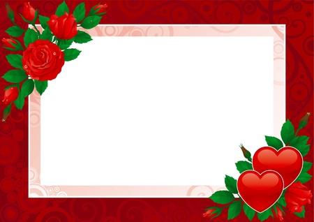Carte de Saint Valentin. Coeurs Vektor et les roses roses sur fond fleuri.