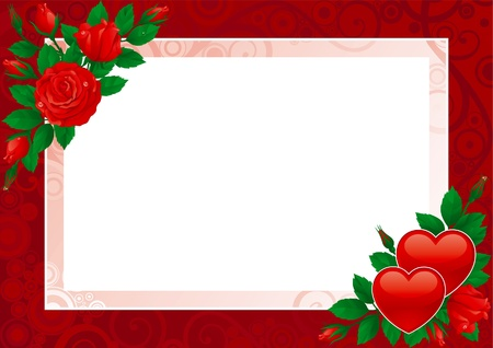 flowers close up: Valentines card. Vektor Hearts and pink roses on ornate background.  Illustration