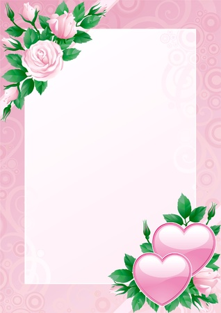 Valentines card. Hearts and pink roses on ornate background.