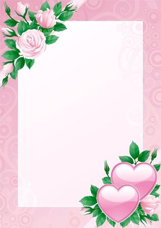 Valentines-Karte. Herzen und rosa Rosen auf verzierten Hintergrund. Standard-Bild - 11910080