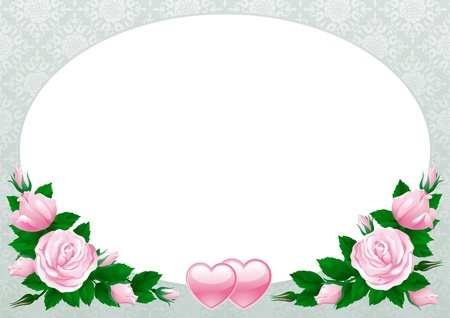 Valentines card. Vector border with  many pink roses and hearts on abstract background.  Vector