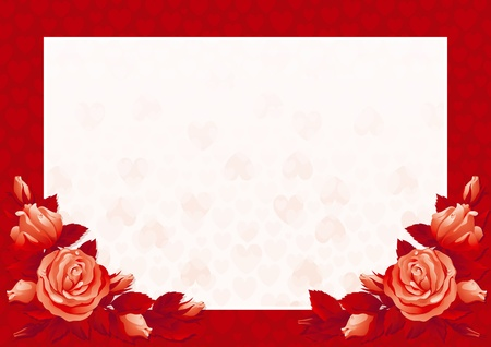Valentines card Vector border with  many red roses and hearts on abstract background.  Vector