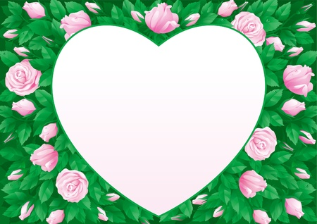 Valentines card. Vector border  in heart shape on background with  many pink roses and leaves.  Vector
