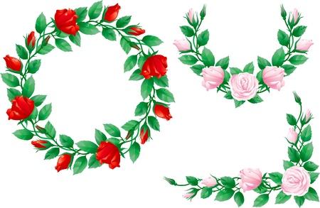 Set mit kunstvollen Elementen mit Rosen. Corner, Girlande und Kranz mit roten und rosa Rosen.