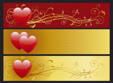 Vector illustration of some abstract  backgrounds with hearts for internet banners Vector
