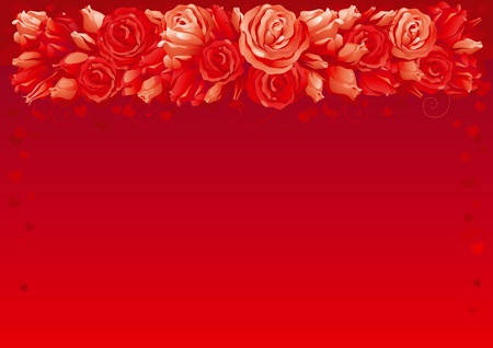 Valentines card. Border of  many red roses and hearts on abstract background.  Vector