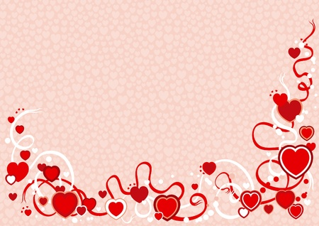 illustration of abstract valentines background with hearts and ribbons