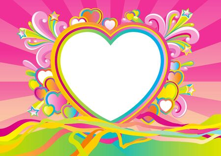 pink hearts: Valentines card at retro style. Vector Empty blank at retro style with  big white heart and many color hearts on abstract background.