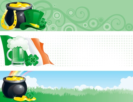 irish landscape: Three banners of pot with gold coins,  horseshoe, leprechaun hat, clover, irish flag, cup of green beer and rainbow for St. Patrick