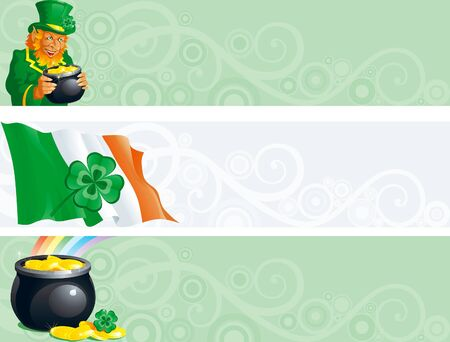 Three banners of pot with gold coins,   leprechaun, clover, irish flag for St. Patricks Day. Vector