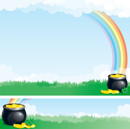 golden pot: background and banner of rainbow, pot with gold coins on green meadow  Illustration