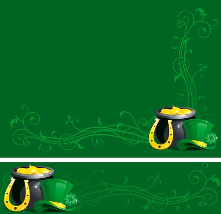 background and banner of pot with gold coins,  horseshoe and leprechaun hat with clover for St. Patrick Vector