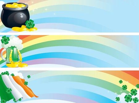 banners with green beer, clover leaves, pot of gold coins on background with rainbow for St. Patrick Vector