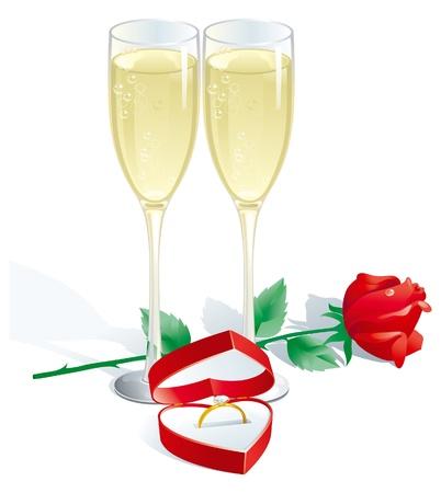 bague de fiancaille: Bague de fian�ailles. Deux fl�tes � champagne, rose rouge et bague de fian�ailles en bo�te � bijoux