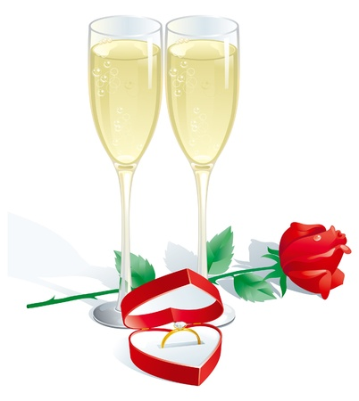 namoro: Engagement Ring. Two  Champagne Flutes, Red rose and Engagement Ring in Jewelry Box