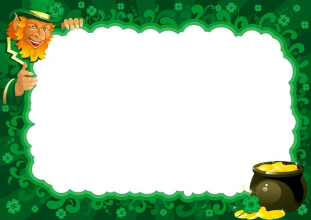 leprechaun background: Lucky leprechaun and pot with gold coins on abstract frame for St. Patrick