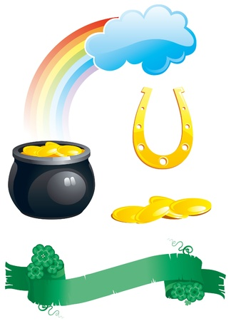 icon set of green floral banner with clover leaves,    pot with gold coins,   rainbows and horseshoe  isolated on white background for St. Patrick Vector