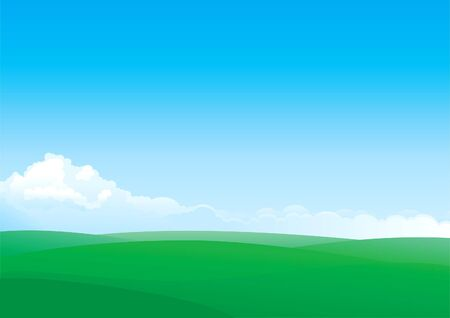 horizon over land: Summer landscape of green fields and blue sky with white Clouds