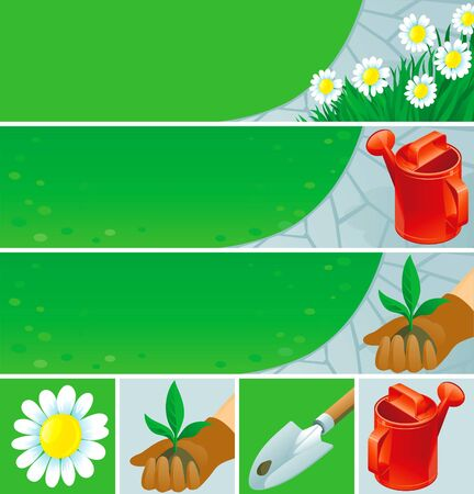 Gardening  banners and icons Stock Vector - 13762633