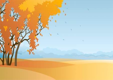 non    urban scene: Fall landscape  Vector  of  trees with orange and yellow leaves at autumn landscape