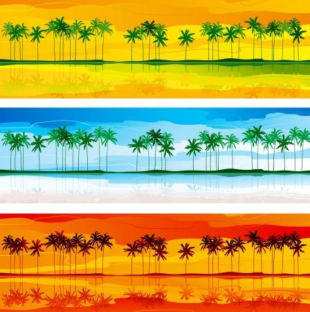Üç renk gamalardan avuç içi tropikal kıyıları ve satır ile tropikal sahil Yatay vektör afiş