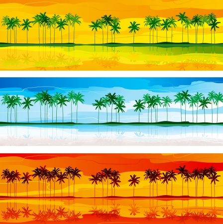 Tropical coast  Horizontal vector   banners with tropical coast and row of palms in three color gammas