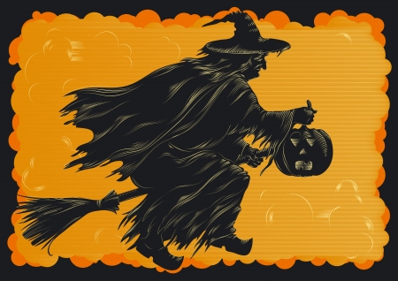 gourds: Happy Halloween  Witch flying on broom at engraving style