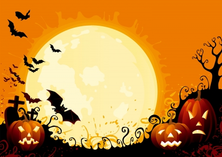 dark background: Happy Halloween Illustration