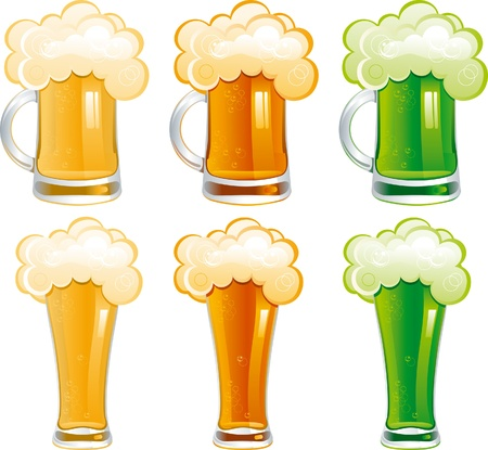 Set of beer  Six mugs and glasses with light, dark and Irish green beer  Vector