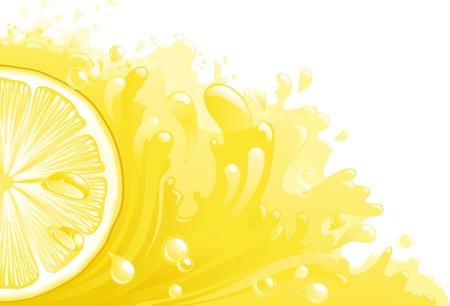 lemon slices: Citron freshness  Half of circle of lemon on background with lemon juice  Horizontal format