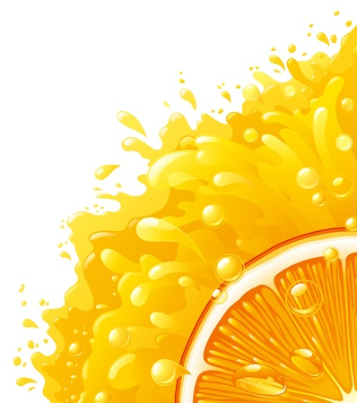 Orange juice  Half of circle of orange on background with orange juice   Vector