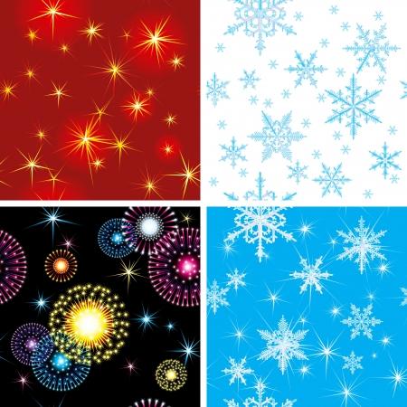 neige qui tombe: quatre horizons sans soudure vacances vecteur avec feux d'artifice, de nombreuses étoiles et flocons de neige
