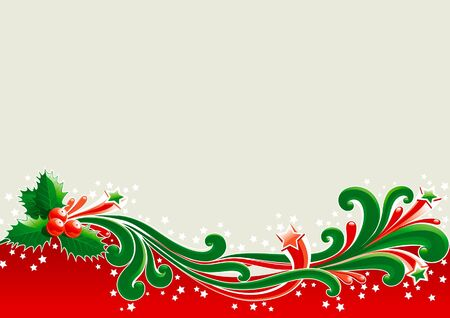 1057;hristmas card with holly  Holly leaves and berries  on abstract background  Illustration